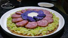 tarte fine au chou, saucisse Morteau et pommes de terre prunelle