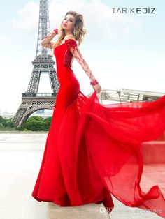 Prom Dresses with sleeves 2014 | Tarik Ediz Red Prom Dresses 2014 Long Sleeve Beaded Sheer Crew Mermaid ...