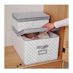 "SVIRA Box with lid, gray, white flowers - gray/white flowers - 15 ¼x19x11 "" - IKEA Nice clothe box. Matches my pink and grey closet theme"
