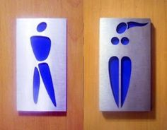I love these restroom signs -- simplified gender forms Toilet Signage, Bathroom Signage, Toilet Door Sign, Bathroom Humor, Funny Toilet Signs, Funny Signs, Wc Icon, Comfort Room, Toilet Room