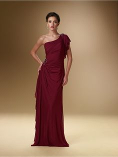 Sheath / Column One Shoulder Chiffon Mother of the Bride Dresses Under 200 99801033