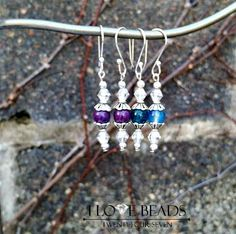 Purple or denim blue earrings-gemstone earrings-silver earrings- purple earrings- blue earrings-agate earrings=silver earrings-dangles