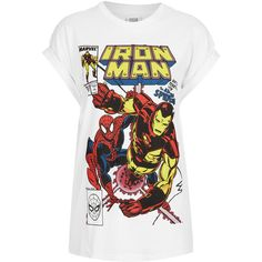 TOPSHOP Iron Man Tee (5.00 AUD) ❤ liked on Polyvore featuring tops, t-shirts, shirts, 10. tops., blusas, white, sleeve t shirt, white t shirt, white cotton shirt and white tee