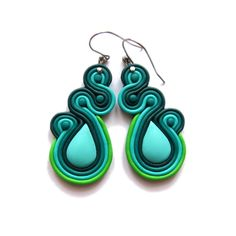 polymer clay handmade mint emerald green drop dangle modern earrings jewelry