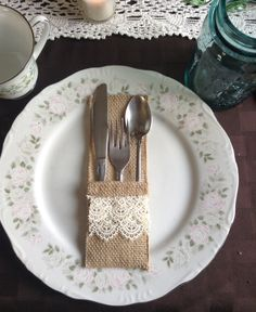 Burlap and lace silverware holder! (free shipping to US) on Etsy, $1.00