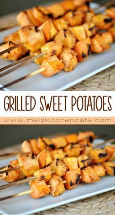 These sweet potato skewers are just the answer for a quick, weeknight, summer side dish Barbecue Recipes, Grilling Recipes, Veggie Recipes, Vegetarian Recipes, Cooking Recipes, Healthy Recipes, Vegan Grilling, Water Recipes, Barbecue Sauce