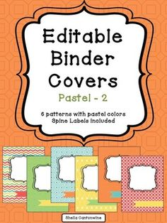 Organize your classroom with these 6 different designs of editable binder covers.  Each cover comes with matching spine labels for 3, 2 and 1.5 binders.To edit the binder covers and spine labels, simply click where it says click to add text.   You can edit the text size, color, and location of each text box.