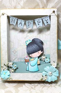 Shadow box book card by Sister Stamps - See www.HankoDesigns.com for Sister Stamp images and Japanese washi paper.  Sister Stamps available from www.SisterStamps.com