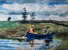 Op jacht in de blauwe kano aquarel by Alex Olzheim