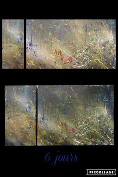 '6 jours', #katialauture  #art  #mixedmedia #techniquemixte #abstrait #abstract #dripping Art Abstrait, Les Oeuvres, Aquarium, Abstract, Acrylic Paintings, Goldfish Bowl, Summary, Aquarius, Fish Tank