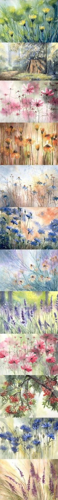 Strip of flowers by Malgorzata Szczecinska