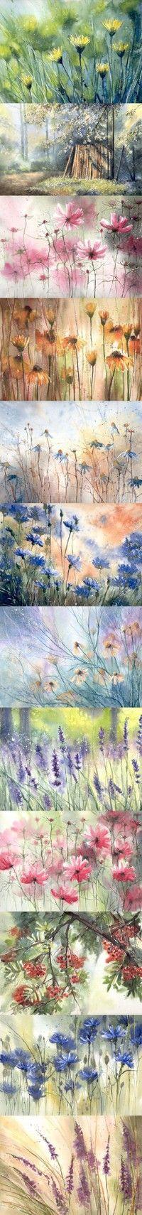 Strip of flowers by Malgorzata Szczecinska