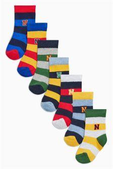 Gestreifte Rugby-Socken im Siebenerpack, mehrfarbig (Jüngere Jungen)