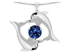 Original Star K(tm) Round 6mm Created Sapphire Dolphin Pendant in .925 Sterling Silver, http://www.amazon.com/dp/B0042TBH20/ref=cm_sw_r_pi_awd_nR7psb0SGPS92