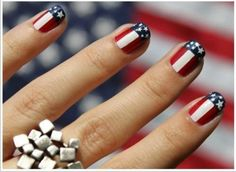 Manicura USA #nails - i see it as Captain America nails. lol
