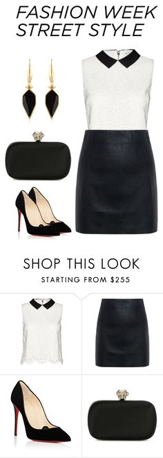 """""""New York Fashion Week"""" by shortbrunette ❤ liked on Polyvore featuring Alice + Olivia, McQ by Alexander McQueen, Christian Louboutin, Alexander McQueen, Isabel Marant, StreetStyle, NYFW, Leather and blackandwhite"""