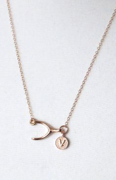 Personalized Lucky Rose Gold Wishbone necklace