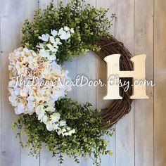 Hydrangea Wreaths with Wooden Monogram - Front Door Decoration - All Season Wreath - Summer Decor by TheDoorNextDoor on Etsy https://www.etsy.com/listing/275905468/hydrangea-wreaths-with-wooden-monogram