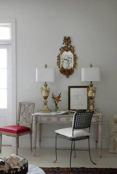 Gray desk. Love chair on left!!