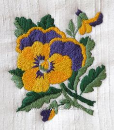 Pansy - Silk Stitch & Sow Embroidery Kit with packet of Pansy seeds