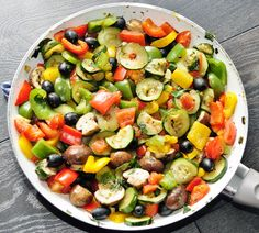 Rainbow Vegetable Side Dish with Olives and Mushrooms. #recipes Healthy, easy and delicious!
