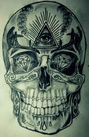 Skull, diamonds, illuminati all seeing eye. Da Vinci code and conspiracy theories. It& all right in front of us. Don& be a victim of society. Illuminate Tattoo, Third Eye Tattoos, Psychedelic Tattoos, Pitbull, Totenkopf Tattoos, Sugar Skull Tattoos, Sugar Skulls, Weird Art, Piercing Tattoo