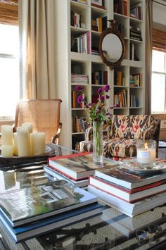 Books, a cane chair, a large window. Sublime.