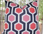 Decorative Geometric Honeycomb Pillow - 16 x 16 Pink Coral Black Geometric Tile Pillow Cover - Black White Pillow - Throw Pillow. $38.00, via Etsy.