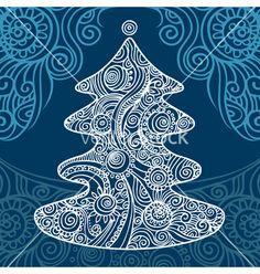 Stylish christmas tree vector