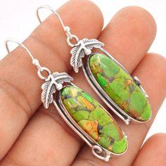 Copper-Green-Turquoise-925-Sterling-Silver-Earrings-Jewelry-SE92662