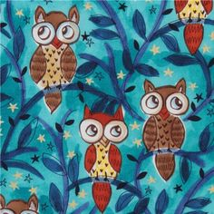 Michael Miller USA designer fabric Moonlit Owls  cute blue fabric with owls, twigs and golden shiny stars from the USA