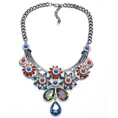 See larger image Rhinestone Choker, Crystal Rhinestone, Crystal Diamond, Glass Crystal, Crystal Flower, Rainbow Flowers, Silver Necklaces, Women's Necklaces, Fashion Necklace