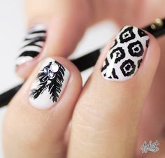 Black and white print #Nail art