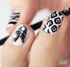 Black and white print #Nail art