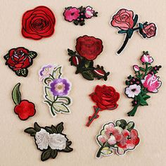 Embroidered Flower Applique Fabric Bag Dress Sew On Patch Clothing Craft DIY Red Rose Flower, Flower Bag, Flower Patch, Flower Shape, Red Roses, Cute Patches, Diy Patches, Iron Patches, Applique Fabric