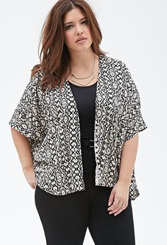 Abstract Print Kimono | Forever 21 PLUS - 2000135680