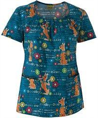 Cherokee Tooniforms Scooby So Sweet Disney Scrub Top small