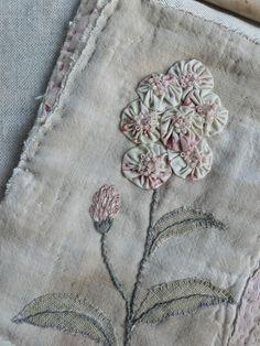 `vintage yo-yo appliqué and embroidery handwork