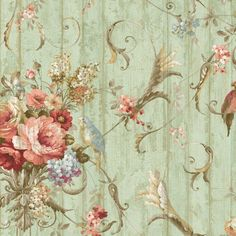Decoupage - For well wishes - Bird Rose French Cottage Floral Victorian French Cottage, Shabby Cottage, French Country, Cottage Chic, French Style, Wallpaper Samples, Wallpaper Roll, Bird Wallpaper, Wallpaper Ideas