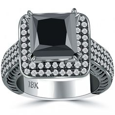 5.68 Carat Princess Cut Natural Black Diamond Engagement Ring 18k Black Gold