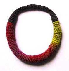 Yarn in Use Textile Jewelry, Crochet Necklace, Jewelry Design, Bracelets, Crochet Collar, Bracelet, Arm Bracelets, Bangles, Super Duo