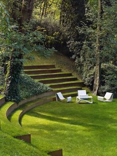 Natural sunken outdoor conversation pit.