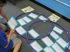 Interactive Venn Diagram, awesome  then, could leave a digital camera at the station for students to take a picture of their completed work to be used as an assesment, or make on a smartboard slide.
