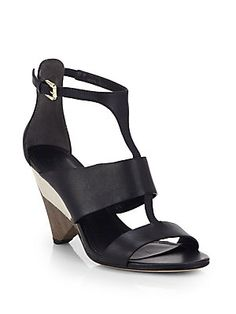 Sigerson+Morrison Dance+Leather+Asymmetrical+Heel+Sandals