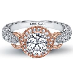 "Kirk Kara 18K White and Pink Gold Engagement Ring With 0.23 Carat Diamonds in Hand Engraved Mounting ""Pirouette"" Collection. *2013 Jewelers Choice Winner ""Best Bridal Design."""