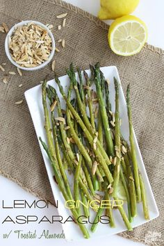 lemon ginger asparagus with toasted almonds | the healthy maven