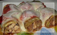 A dieta con ww: ROLLITOS DE BERENJENA, 3pt por persona. Ingredientes para 2 personas: - 2 berenjenas - 150gr de pechuga de pollo picada 3pt - 1 cebolla grande - 2 dientes de ajo - salsa de tomate o tomate frito light (puntuar aparte) - vino blanco - 1ct de aceite 1pt - 3 tranchetes light 2pt Preparación: Pelamos las berenjenas y las cortamos en lonchas finas a lo largo, si lo preferimos les ponemos sal y las dejamos reposar un rato, yo este paso siempre me lo salto, ponemos el aceite en la…