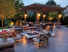 Dream Backyard courtesy of furniture from Patio World of Bend Oregon. Love the pergola and the fire pit on the paver patio! Design Patio, Backyard Patio Designs, Lounge Design, Outdoor Kitchen Design, Backyard Landscaping, Landscaping Ideas, Pergola Designs, Pergola Ideas, Firepit Design