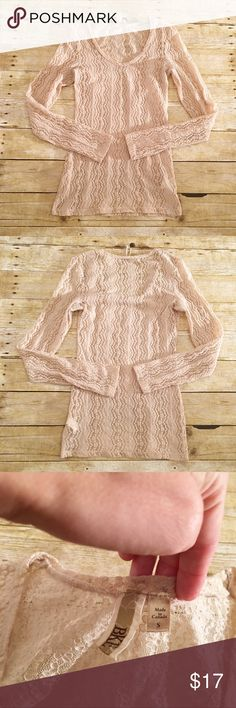 Cream/light brown BKE sheer long sleeve top, small Very good used condition BKE sheer top in a size small. Very pretty! Will need a cami underneath. A few threads need to be trimmed off. Total length- approximately 27.5 inches, bust- approximately 15 inches, sleeve length- approximately 26 inches. BKE Tops Tees - Long Sleeve
