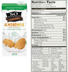 So Delicious Almond Milk Review Best Almond Milk Brand, Milk Brands, Vegan Milk, Trans Fat, Saturated Fat, Serving Size, Cholesterol, Dairy Free, Beverages